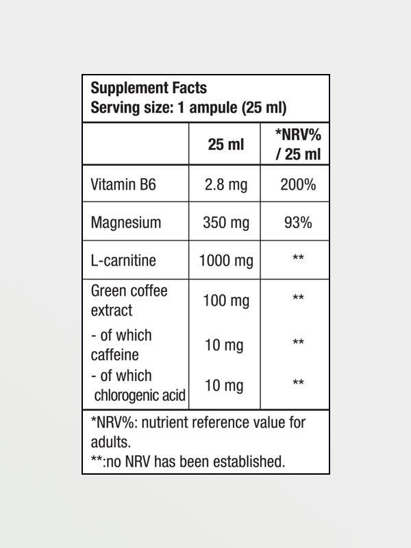 BIOTECH USA Magna Shot 25ml Lemon, διατροφικές πληροφορίες