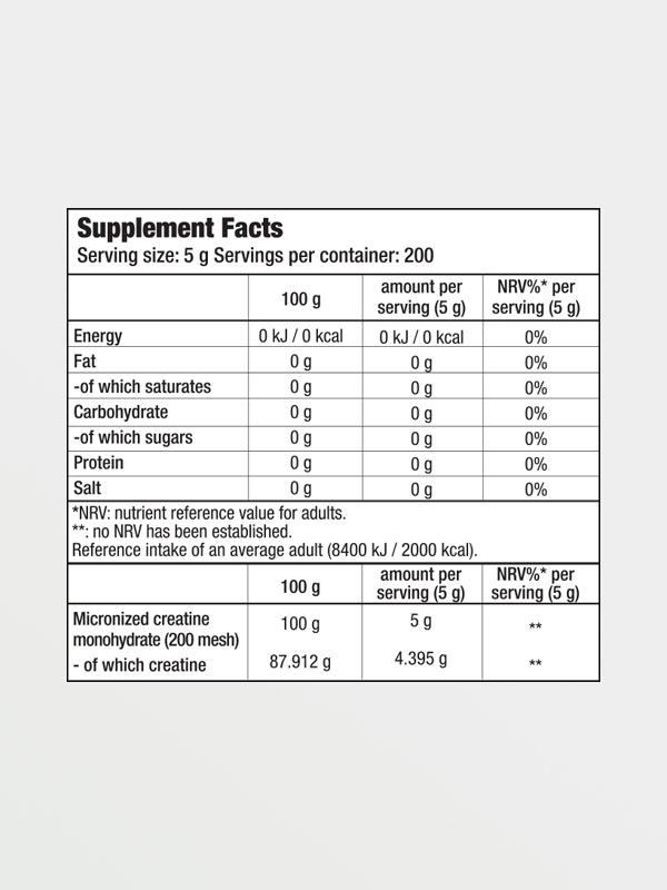 BIOTECH USA 100% Creatine Monohydrate 300g, διατροφικές πληροφορίες