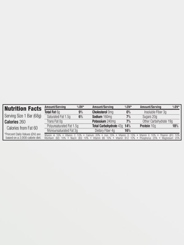 CLIF BAR Chocolate Almond Fudge 68g, διατροφικές πληροφορίες