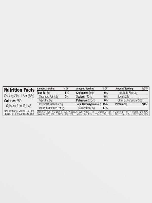 CLIF BAR Chocolate Chip 68g, διατροφικές πληροφορίες