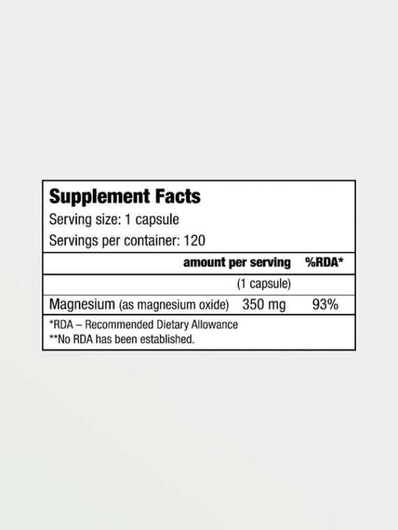 Biotech USA Magnesium 120caps Nutrition Facts