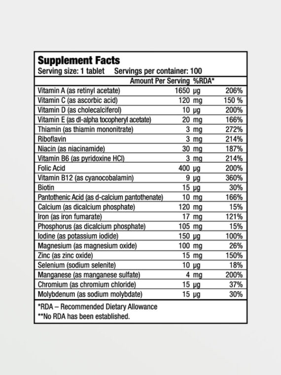 BIOTECH USA One A Day - Nutrition Facts