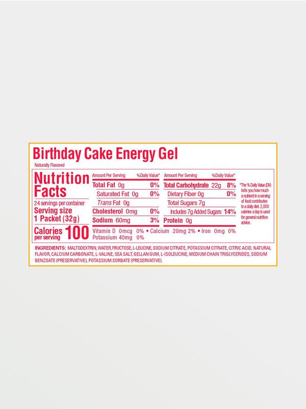 GU EnergyGel Birthday Cake - Διατροφικές Πληροφορίες