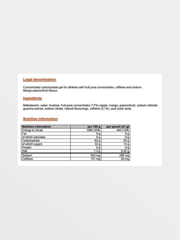 POWERBAR PowerGel - Διατροφικές Πληροφορίες
