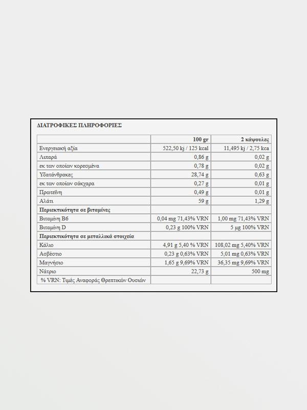 226ERS Sub9 Salt Electolytes 2caps - Διατροφικές Πληροφορίες