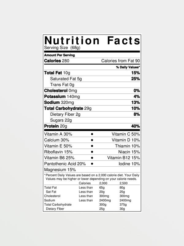 CLIF Builder's Protein Chocolate - Διατροφικές Πληροφορίες