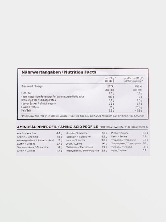ESN ISO-Whey Hardcore 1000g - Διατροφικές Πληροφορίες